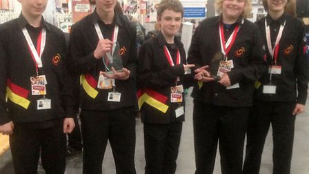 NWCC F1 in Schools National Finals success for Team Revolution. Team with their car and (glass) Trop