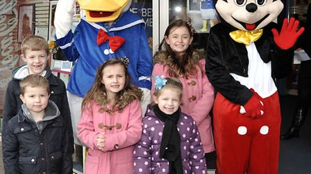 Easter Fun Day at Horsefair shopping centre, Wisbech, Children with Donald and Mickey.