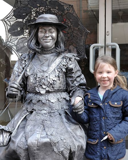 Easter Fun Day at Horsefair shopping centre, Wisbech, Issobell Bonnett with the silver lady.