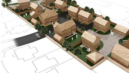 Aerial perspective of new homes at 33 Gaul Road, March