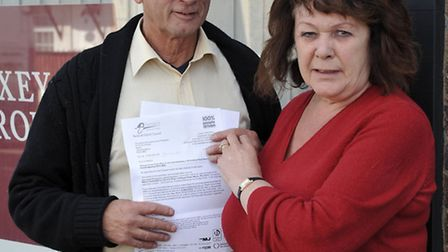 Objection to proposed takeaway in March. Alan and Maureen Pugh outside the objected takeaway.