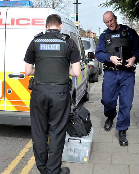 Day of action in Wisbech. Police raid a house in Southwell Road.