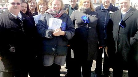 Euro MEP Vicky Ford in Wisbech. Cllr Tierney is on the far right.