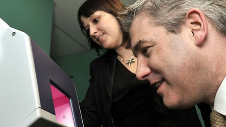 MP Steve Barclay unveiling new equipment at Selby and Taylor opticians, Caroline Lukehurst Assista
