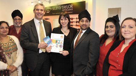 MP Steve Barclay unveiling new equipment at Selby and Taylor opticians, March. Staff and Owners of S