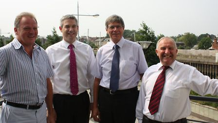 United they stand: from left, Cambridgeshire County Council Leader Cllr Nick Clarke, Stephen Barclay