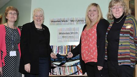 The official launch of the micro library, opened by Cllr Samantha Hoy and Cllr Virginia Bucknor, Fro