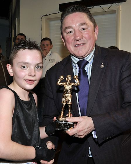 March Amateur Boxing club Tournament. Bobby Smith (March) Winning trophy presented by Dave Boy Green