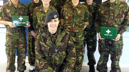 Seven Air Cadets from 1220 (March) Squadron were presented with their red St John Youth First Aid Aw