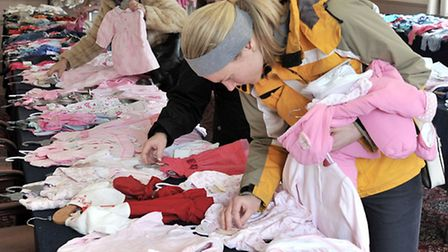 Baby clothes sale at the Oliver Cromwell hotel March.