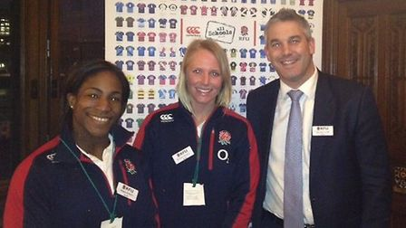 North East Cambs MP Barclay with England Women's rugby stars Maggie Alphonsi and Michaela Staniford