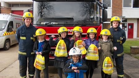 Pupils from Park Lane Primary School learn about safety issues at Whittlesey Fire Station