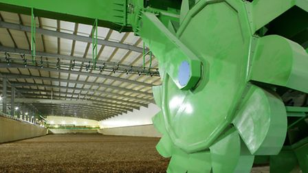 The large turning wheels in the composting hall
