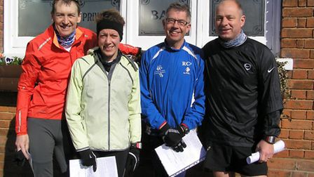 Joe Dilworth, Charlotte King, Richard Percy and Simon King about to run the Felsted race
