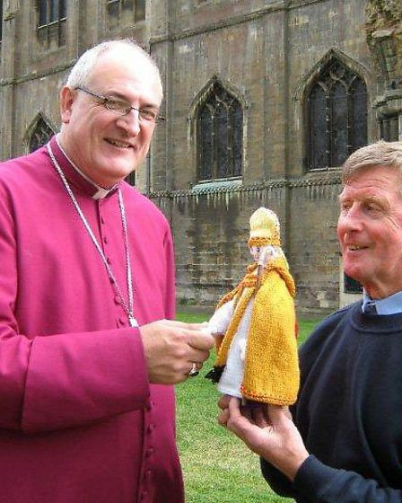 """""""Bishop George"""", kindly knitted by Avis Bidwell, the church verger, Littleport"""