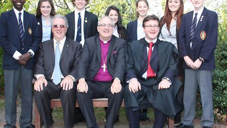 Wisbech Grammar School prize giving. Platform party members (seated from left to right) Dr Dennis Ba