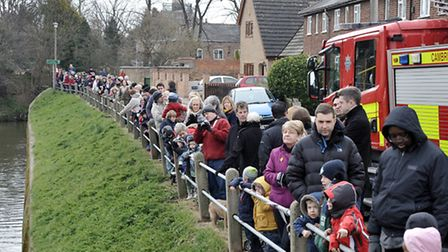 Whittlesey Mayor's charity duck race. The crowds wait for the ducks to be released,