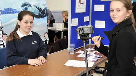 March Community Centre.Year 6 Careers Convention. Grace and Nicole trying out the video interviews.