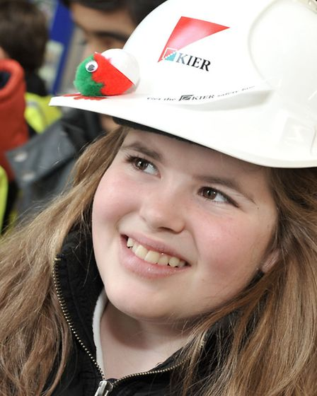 March Community Centre.Year 6 Careers Convention. Lucy wearing the hard hat from the Kier group.
