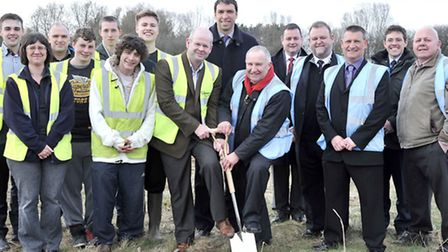 Cutting of the Sod' for the new skills centre at Delamore, Wisbech St Mary. On the spade is Left: Wa