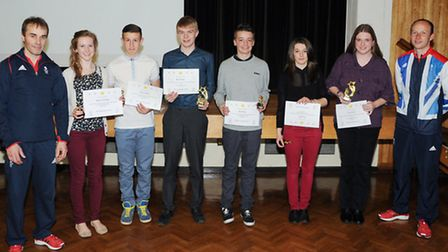 Paul Hall and Glenn Kirkham with award winning Students at the Witchford Village College Sports Awar