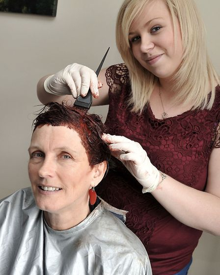 Conquest Lodge. March, Boss Annika Short dying hair red for Red Nose Day Helped by Bethan Lenton fro