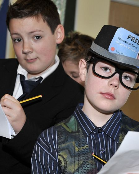 Westwood Junior School holding a Red Nose Day, with pupils dressed as reporters. Picture: Steve Will