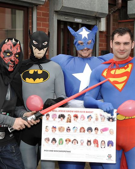 PTS Wisbech, Staff dressed as Super Heroes for Red Nose day. Picture: Steve Williams.