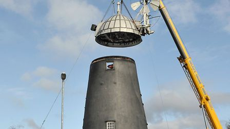 Burwell Mill decapitation day.The 6-ton cap was finally lifted off Burwell Mill. Picture: Steve Will