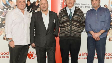 Pictured at the award ceremony, from left, Allan James, guest speaker Chris Spinks, William Kerry a