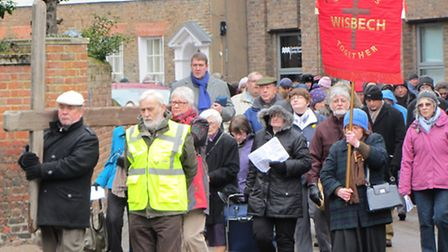 A large contingent from Wisbech churches gathered for a Walk of Witness through the town, intermingl