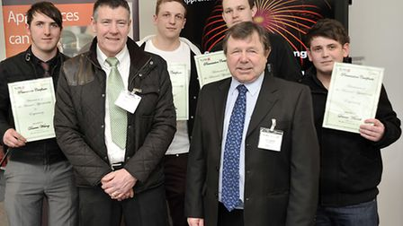 The College of West Anglia Engineering Apprenticeship Awards. Kevin Shaw, Keith Rayner and the award