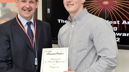 The College of West Anglia Engineering Apprenticeship Awards. Left: Principal David Pomfret and Simo