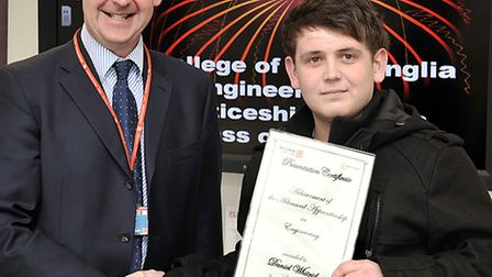 The College of West Anglia Engineering Apprenticeship Awards. Left: Principal David Pomfret and Dani