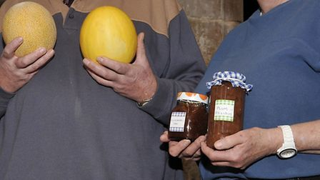 Leverington Church monthly market. Graham and Margeret Rickard on their produce stall.