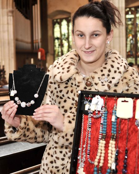 Leverington Church monthly market. Laura Stanford on her jewellery stall.