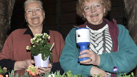 Leverington Church monthly market. Faith Lewis and Beryl Bunton on the Care for Cats plant stall.