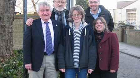 Councillors Bill Hunt, Mike Rouse, Anna Bailey and Elaine Griffin-Singh with Andrew Olley of the Ely