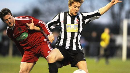 Action from Dereham Town v Wisbech Town at Aldiss Park. Picture: Ian Burt
