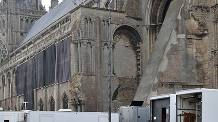 Trailers arrive to begin filming in Ely Cathedral