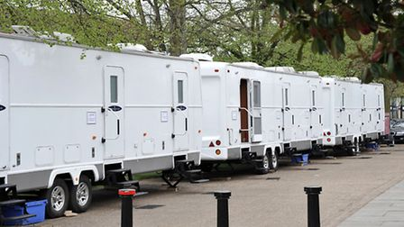 Equipment and trailers lined Palace Green, opposite Ely Cathedral
