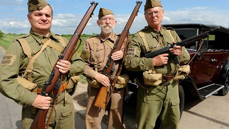 """Members of the """"Aldreth"""" Home Guard platoon - Henry Landis, Peter Dixon and Neil Tague"""