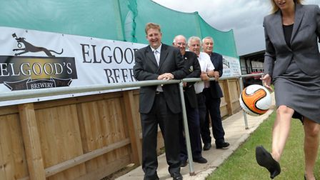 MD of Elgoods Brewery, Belinda Sutton juggles a football at the official announcement that Elgoods w