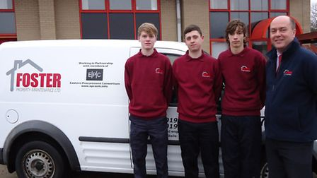 The new apprentices at Foster Property Maintenance, Jonathan Carver (left), Lewis Jones (middle), D