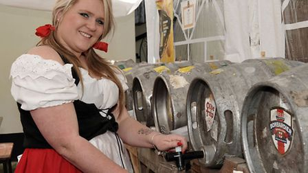 St George's Fayre, March. Stacey Parrish pulling pints Picture: Steve Williams.