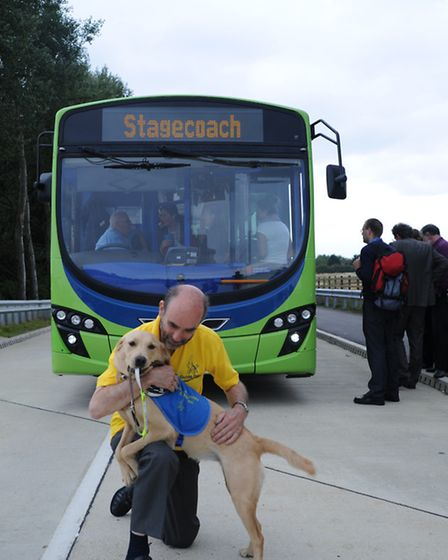 Cllr John Reynolds combining two interests: he was part of the guided bus delivery team for Cambridg