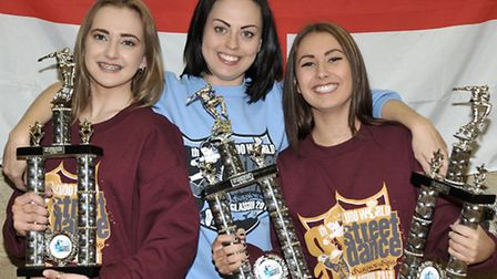 Emily Roberts and Ellie Belger won UDO European Street dance competition. From left: Emily Roberts,