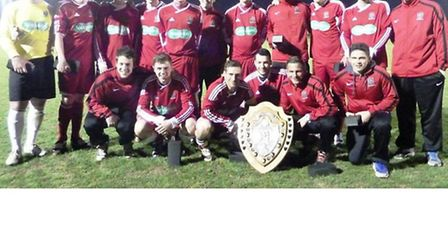 Wisbech's players with the Runners-Up Shield