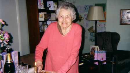 Lilian Hills who has died aged 99. The photo was taken on her 90th birthday