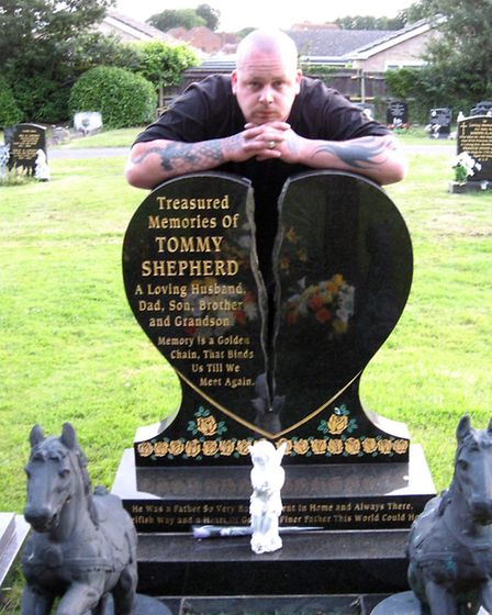 Billy Martindale at the graveside of his best friend Tommy Shepherd who was was murdered.